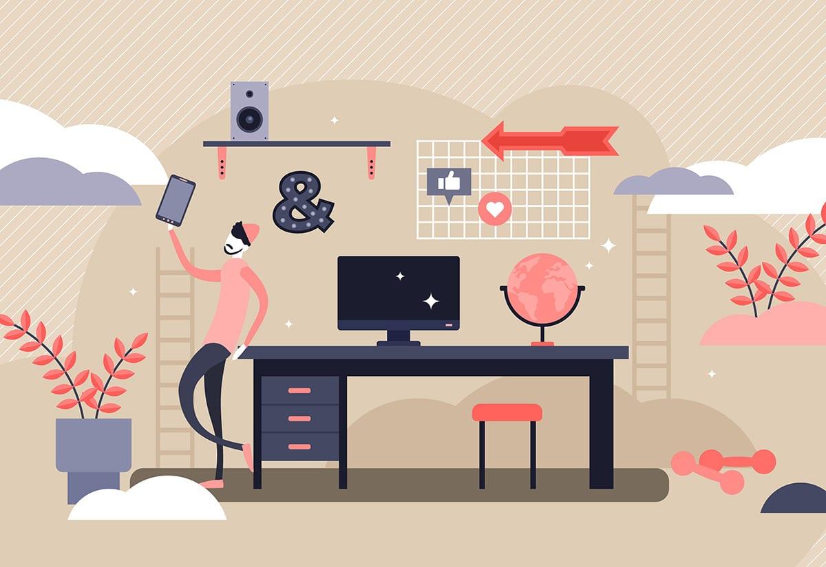 Gen Z Illustration, male student leaning on desk with tablet
