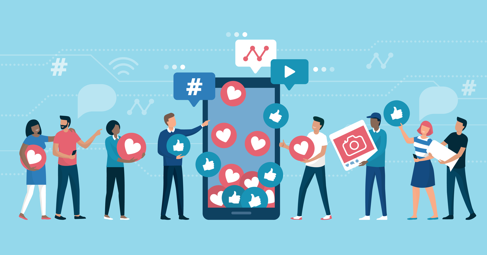 Colorful Illustration of social media advertising and notifications
