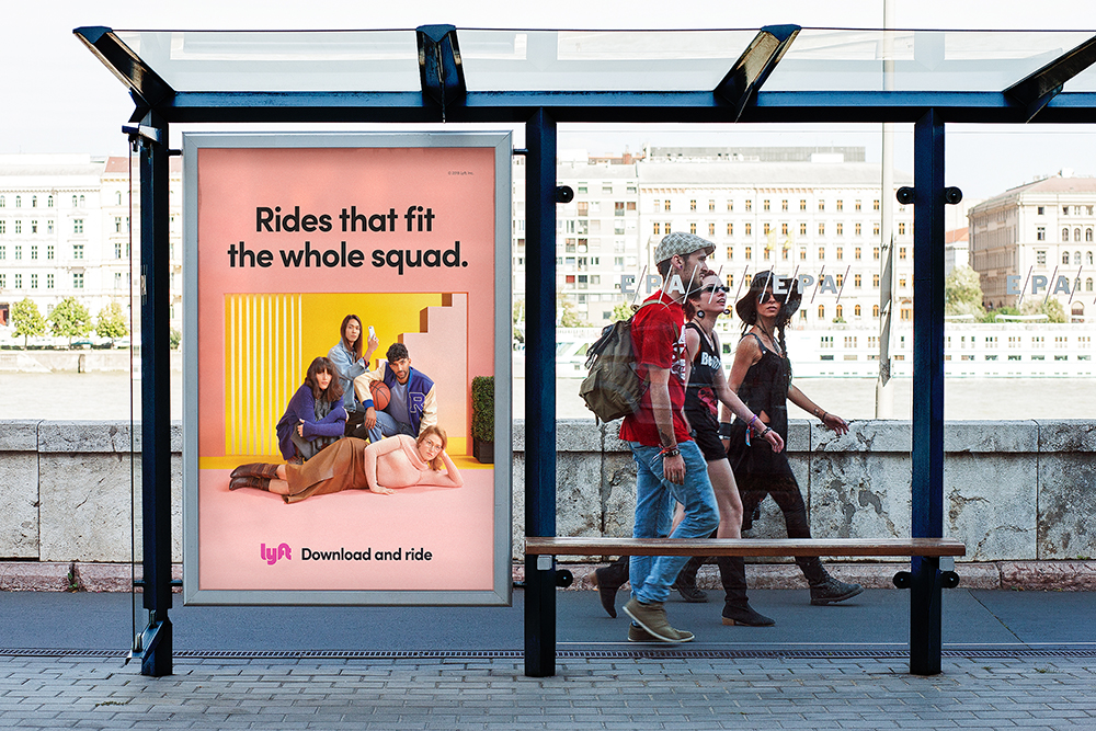 Bus shelter campaign with Lyft