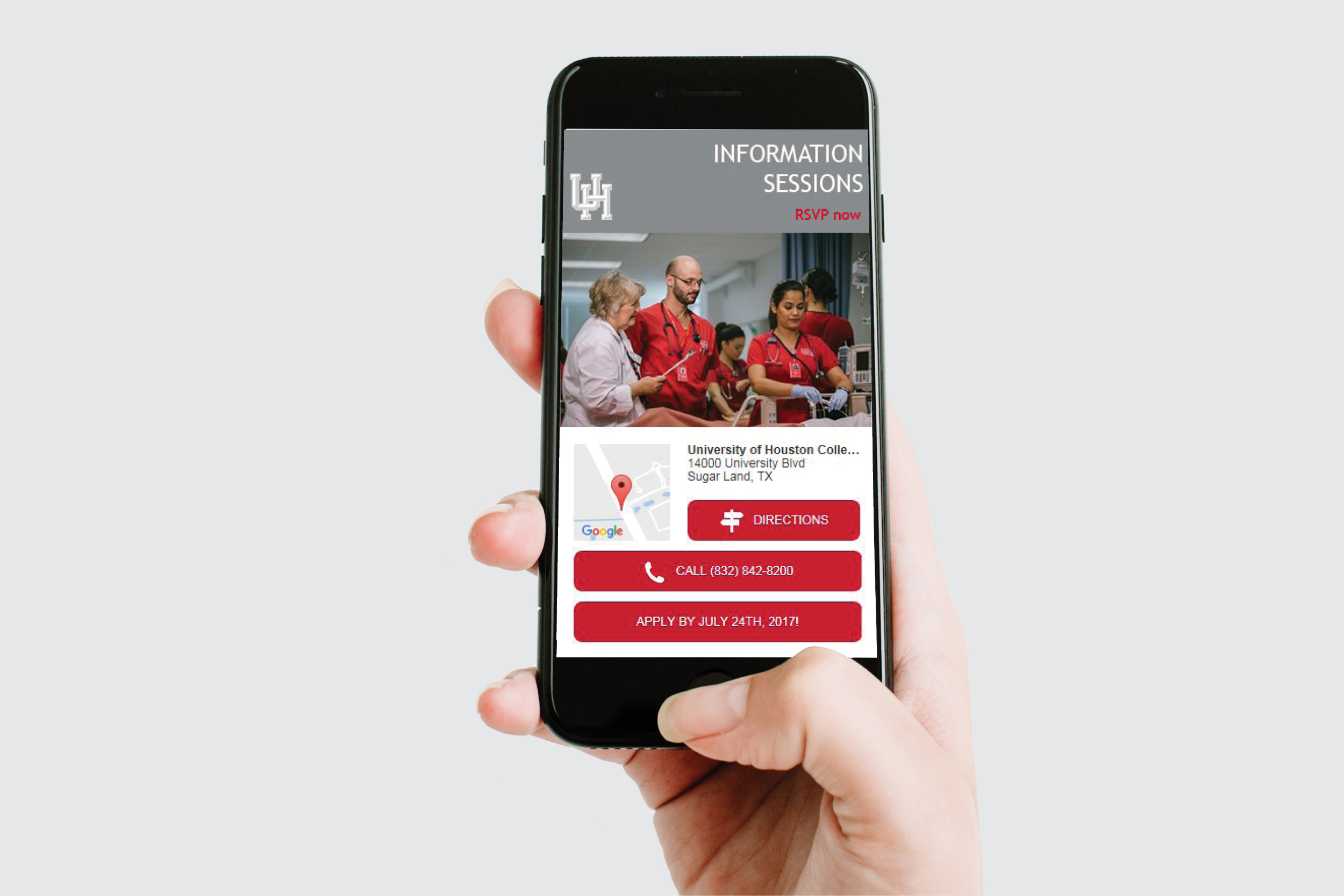 Mobile phone with landing page for University of Houston