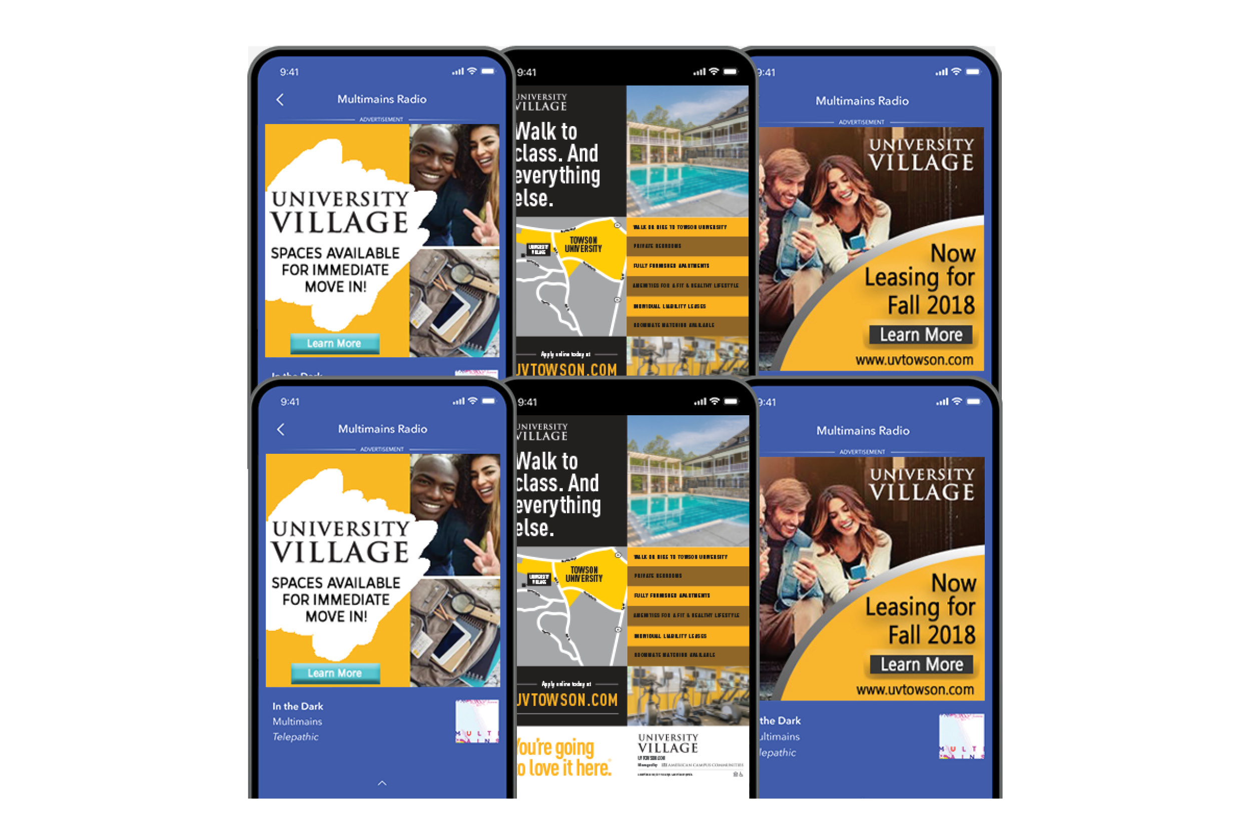 Mobile ad for University Village at Towson on several phones