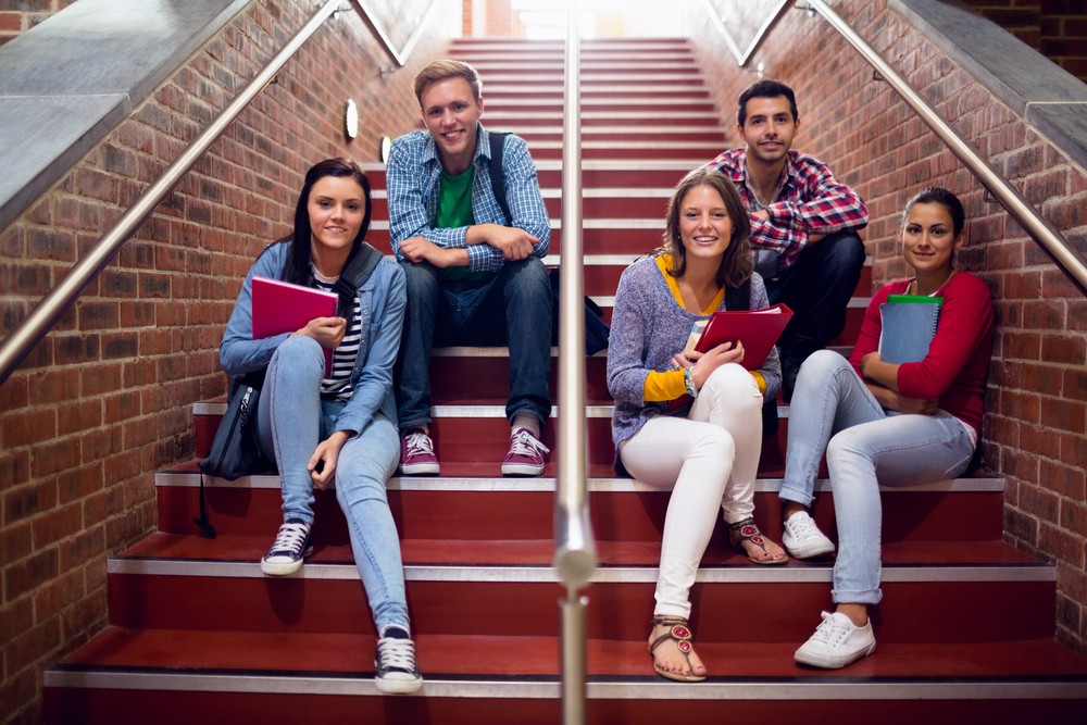 Group portrait of young college students